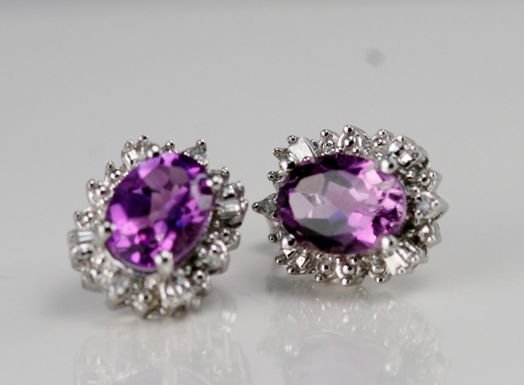 10K W/G EARRINGS WITH AMETHYSTS AND DIAMONDS