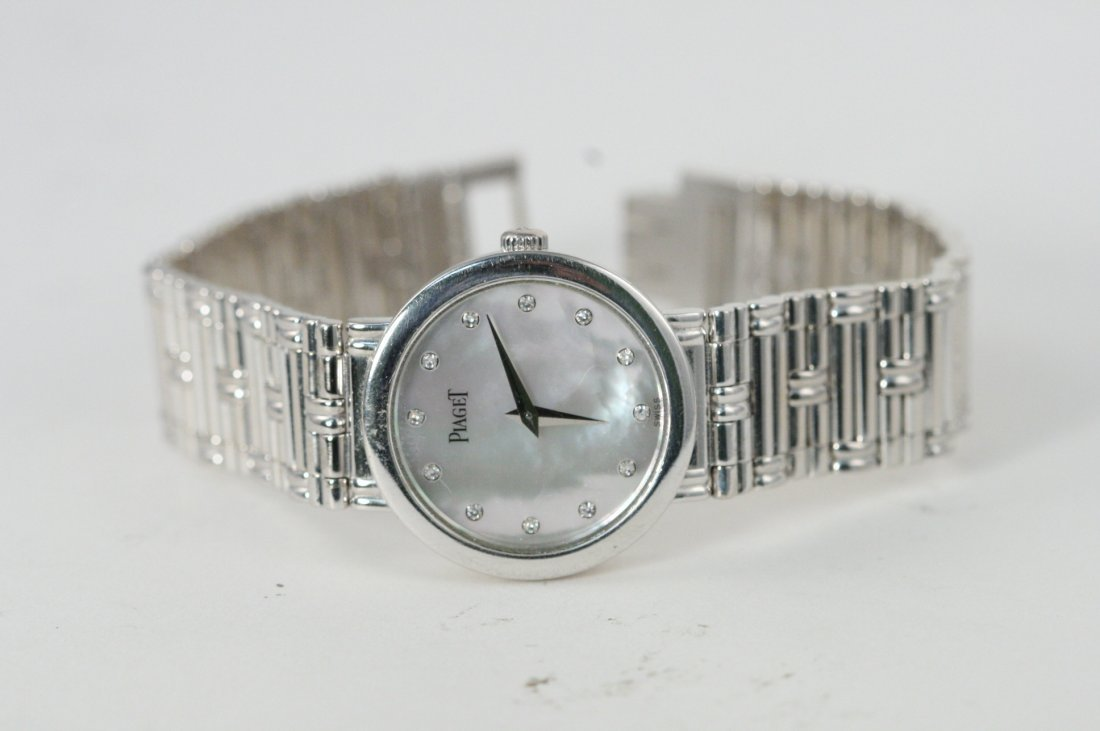 18K W/G PIAGET MOTHER OF PEARL WATCH WITH DIAMOND DIAL