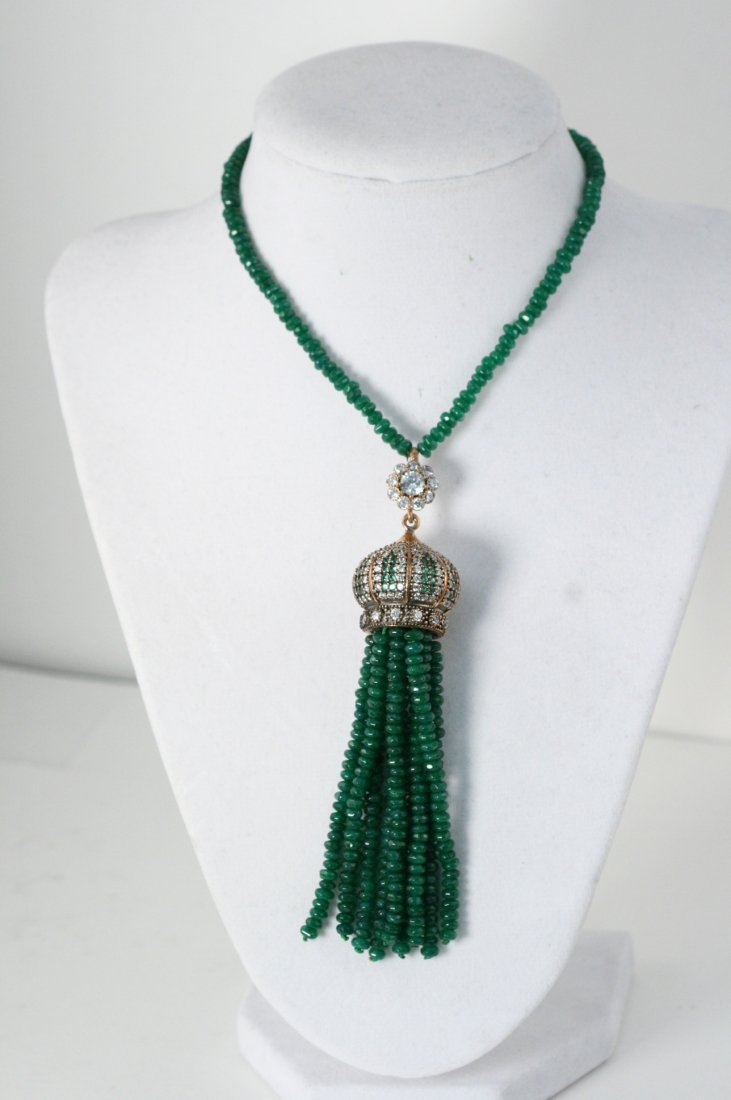 "NATURAL EMERALD 32"" NECKLACE WITH CZ COVERED CROWN"