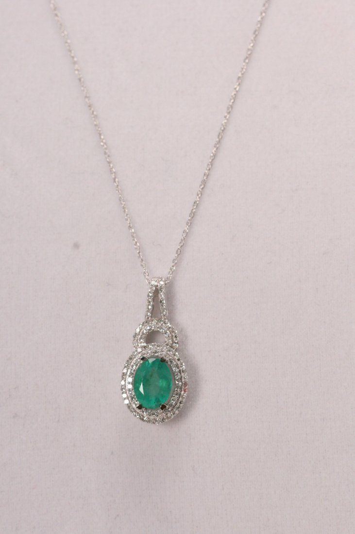 14K W/G DIAMOND & EMERALD NECKLACE