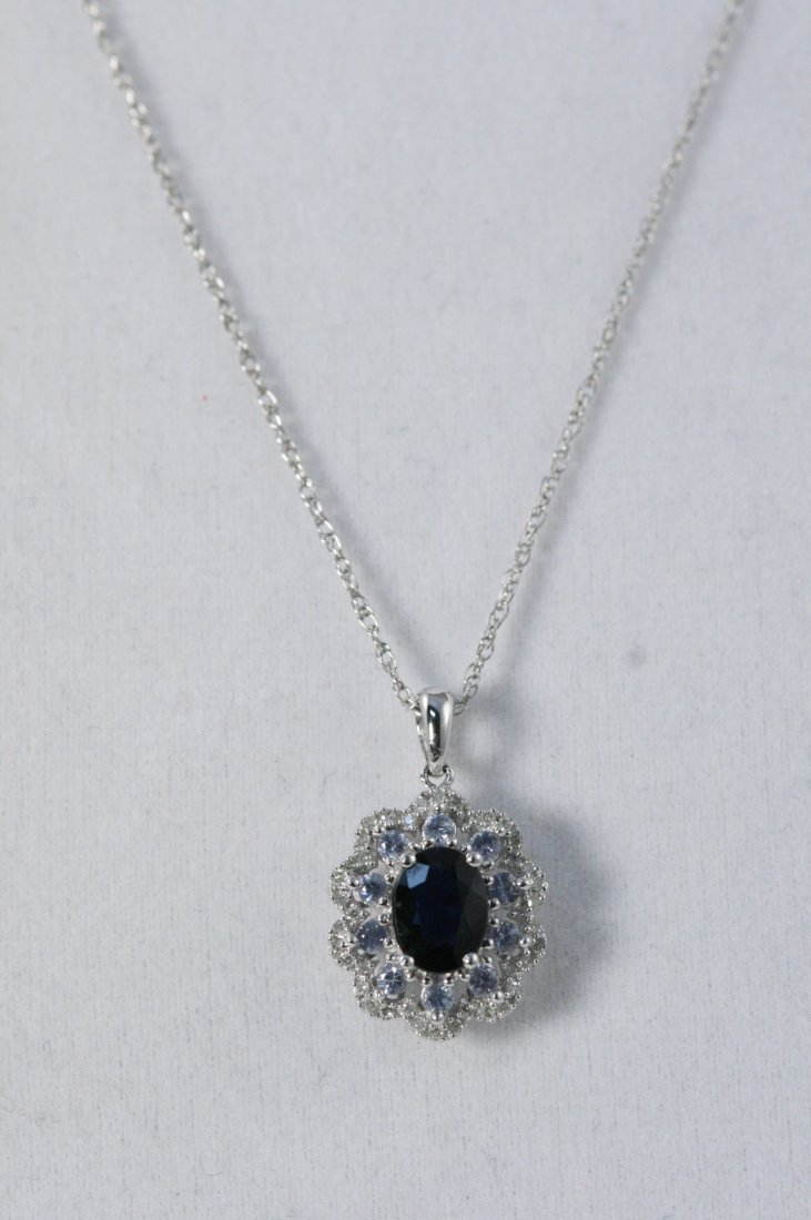 14K W/G DIAMOND, SAPPHIRE AND BLUE TOPAZ NECKLACE