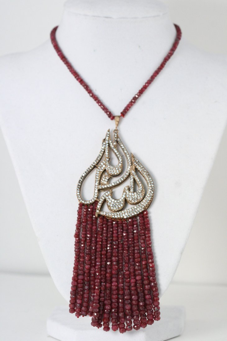 NATURAL RUBY NECKLACE WITH LARGE CZ PENDANT