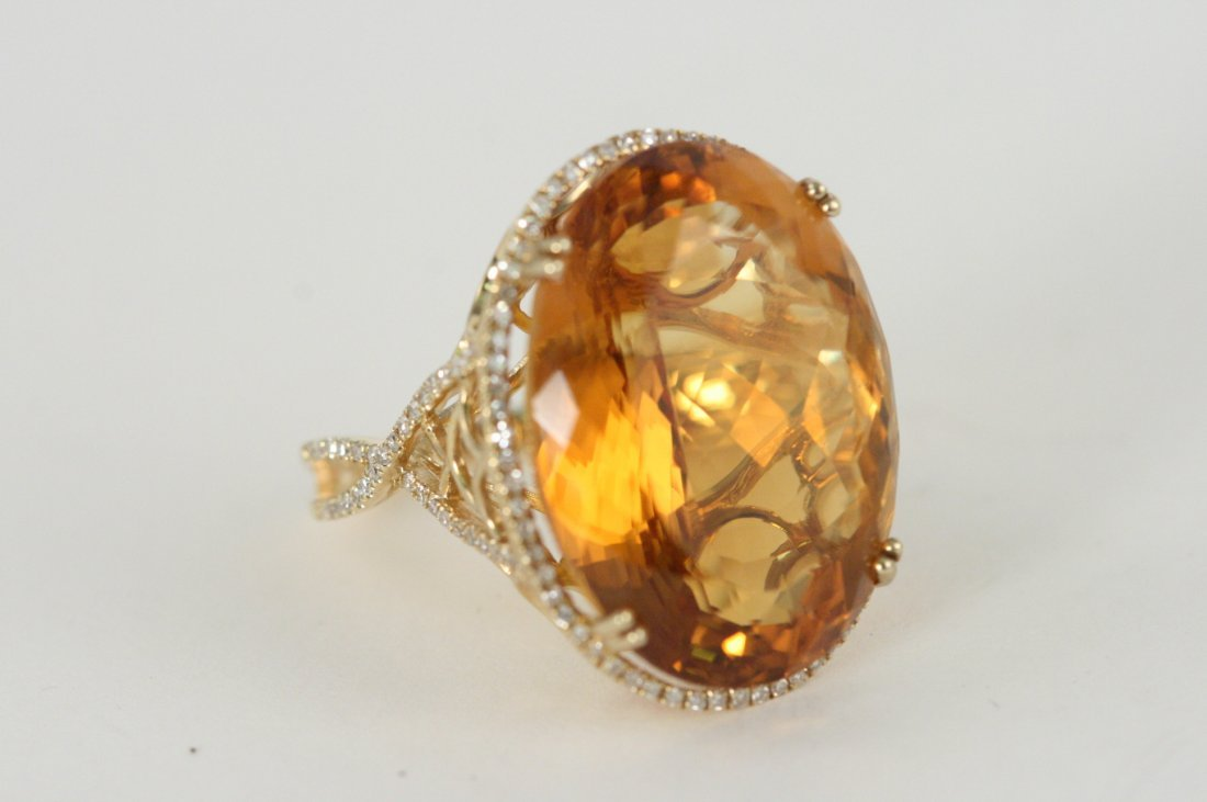 14K Y/G DIAMOND AND CITRINE RING