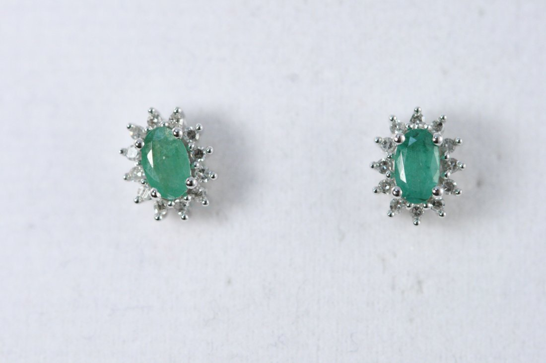 14K W/G EMERALD AND DIAMOND EARRINGS
