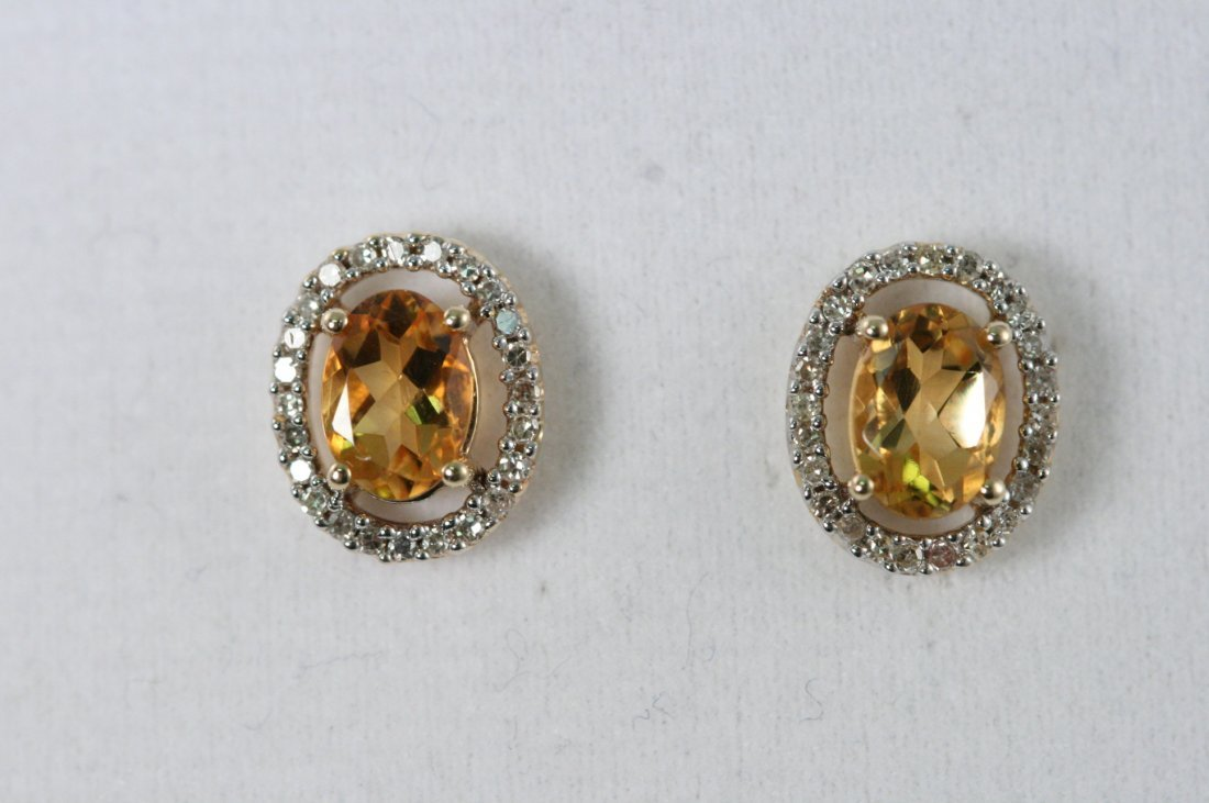 14K Y/G CITRINE EARRINGS WITH DIAMONDS