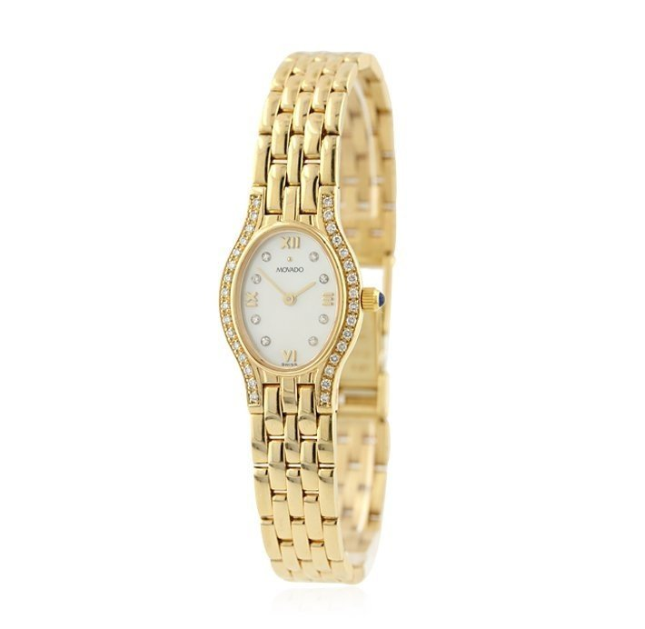 LADIES MOVADO 14K YELLOW GOLD DIAMOND WATCH