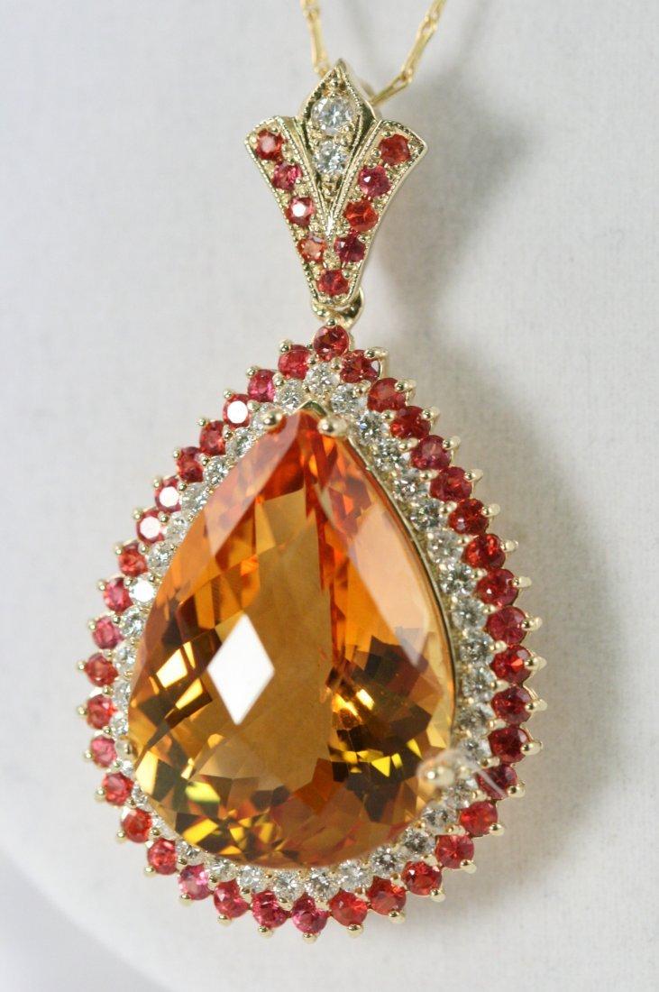 STUNNING 14K Y/G CITRINE, ORANGE SAPPHIRE AND DIAMOND