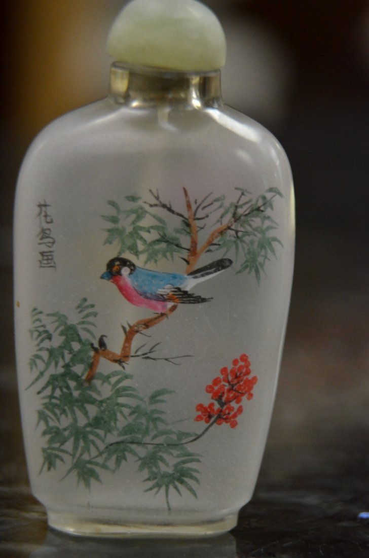 HAND PAINTED GLASS SNUFF BOTTLES