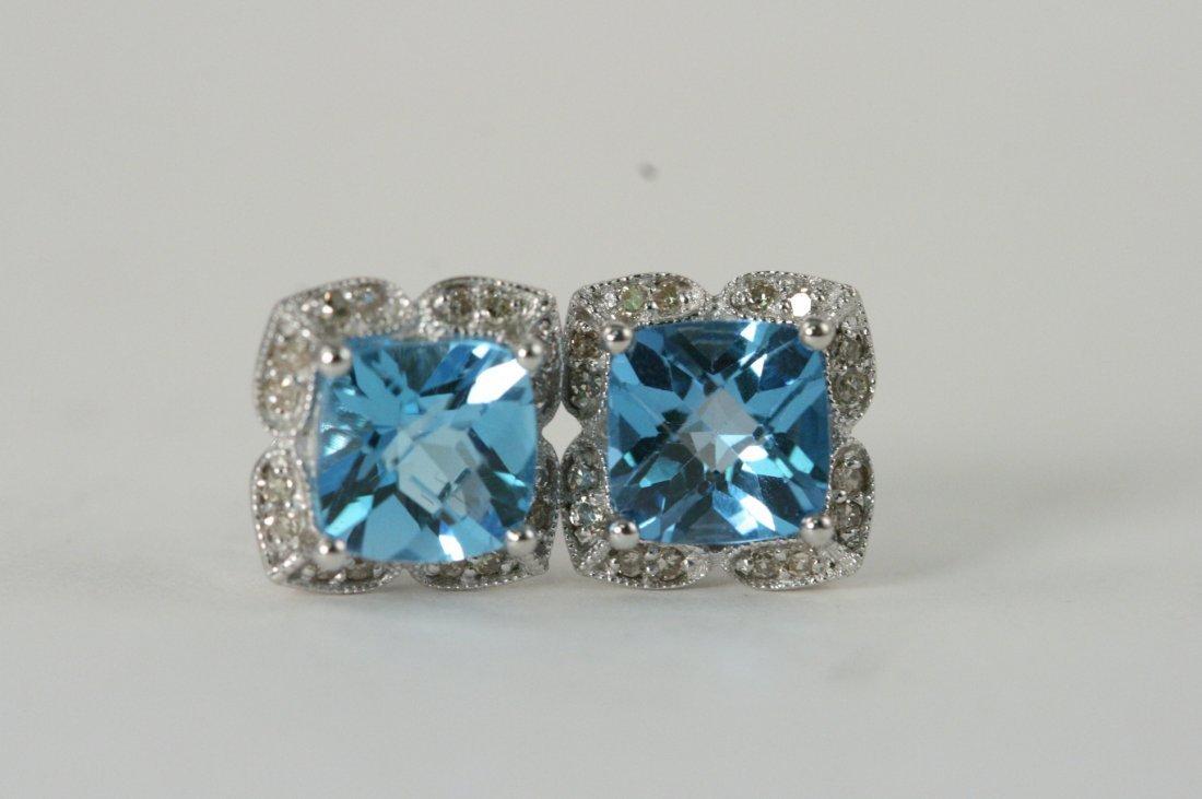 W/G BLUE TOPAZ AND DIAMOND EARRINGS