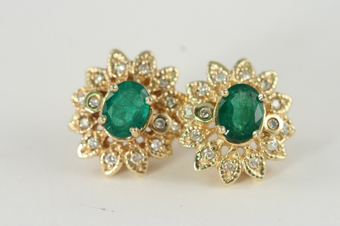 14K Y/G EARRINGS WITH DIAMONDS AND EMERALDS