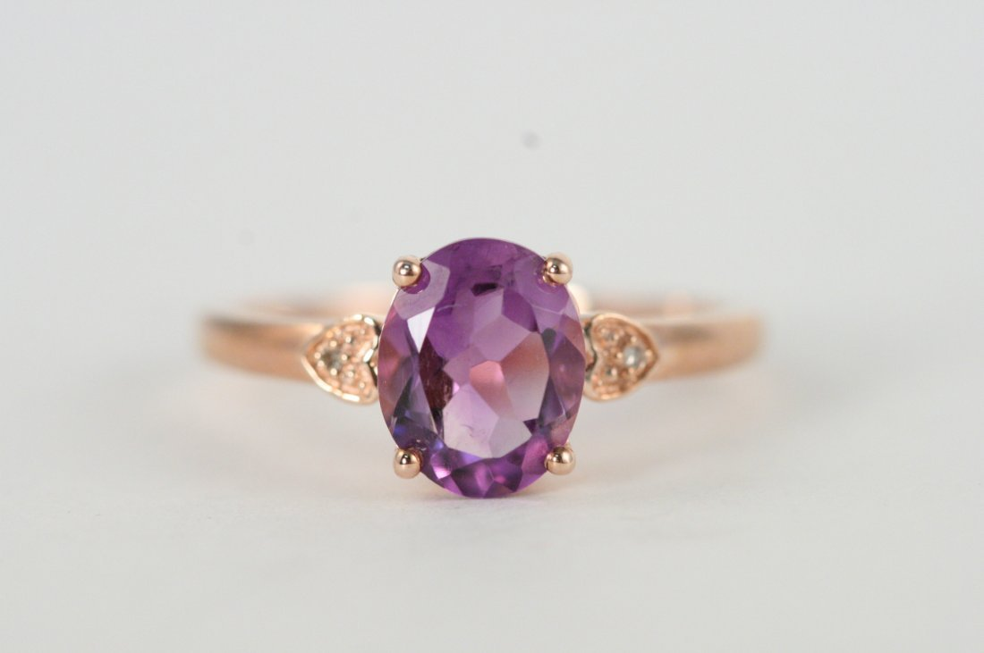 ROSE GOLD DIAMOND AND AMETHYST RING