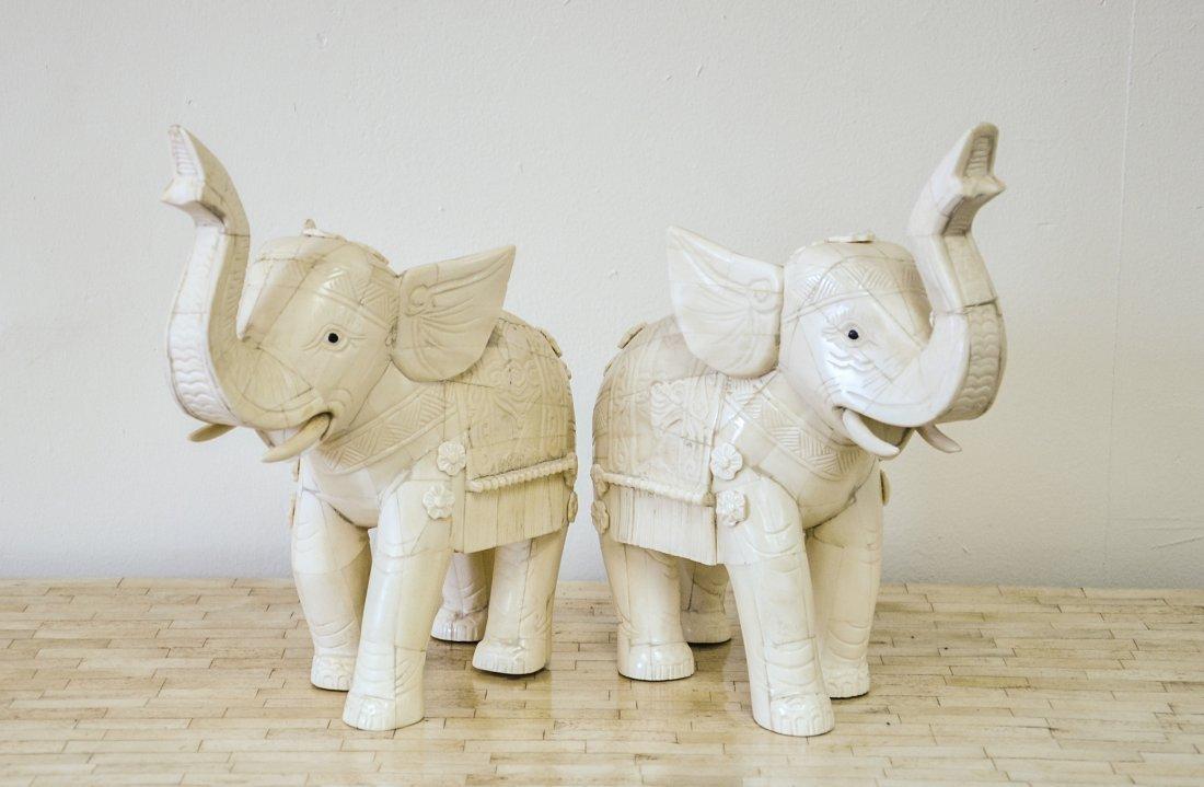 PAIR OF HAND CARVED BONE ELEPHANTS