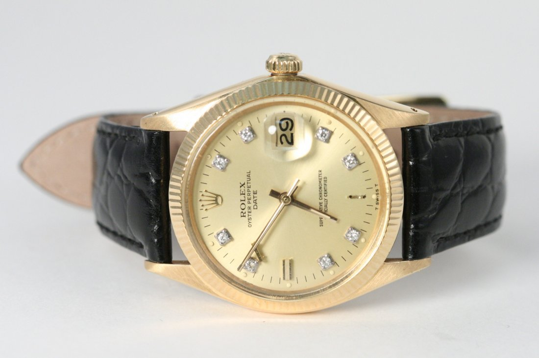 MENS GOLD ROLEX WITH DATE AND CUSTOM AFTERMARKET