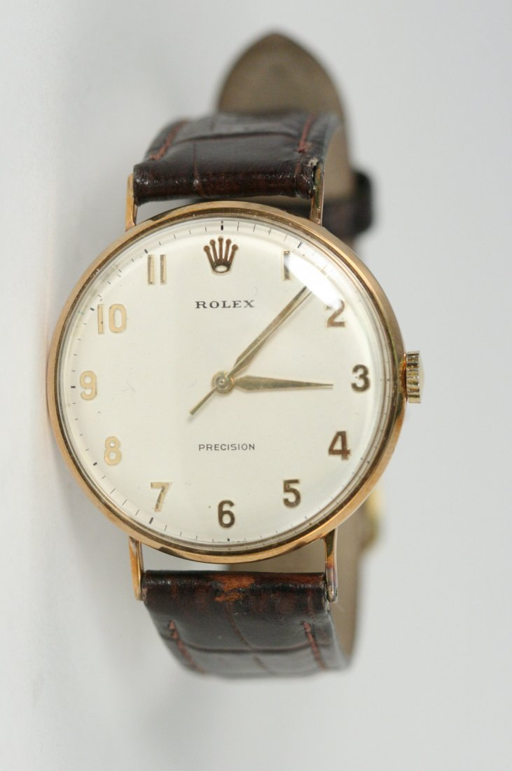 ROLEX PRECISION WATCH WITH GENUINE BROWN LEATHER