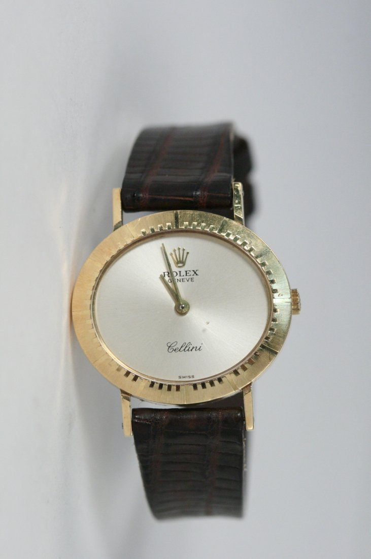 ROLEX GENEVE CELLINI WATCH.  YELLOW GOLD WITH BROWN