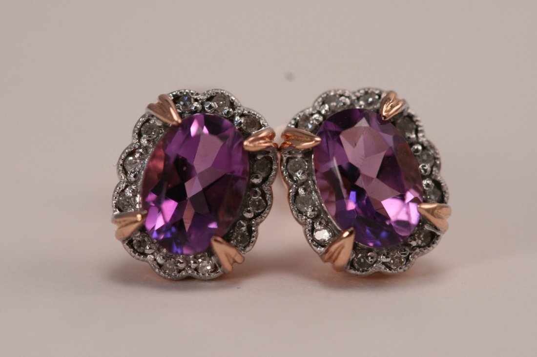14K ROSE GOLD DIAMOND AND AMETHYST EARRINGS