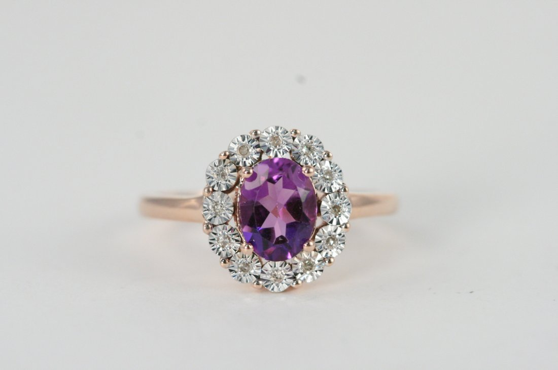 14K ROSE GOLD DIAMOND AND AMETHYST RING