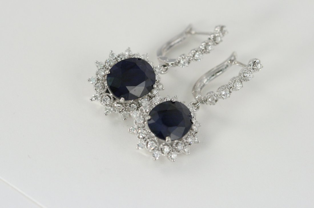 14K W/G EARRINGS WITH BLUE SAPPHIRES AND DIAMONDS