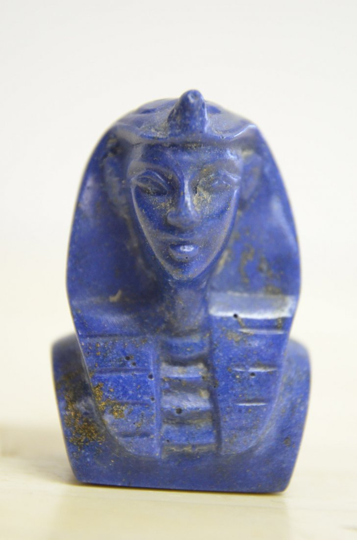 HAND CARVED  LAPIS OF EGYPTIAN FIGURE HEAD