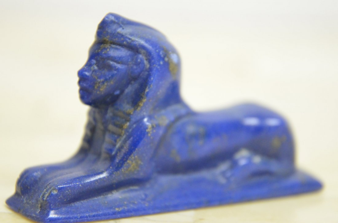 HAND CARVED  LAPIS OF EGYPTIAN SPHINX