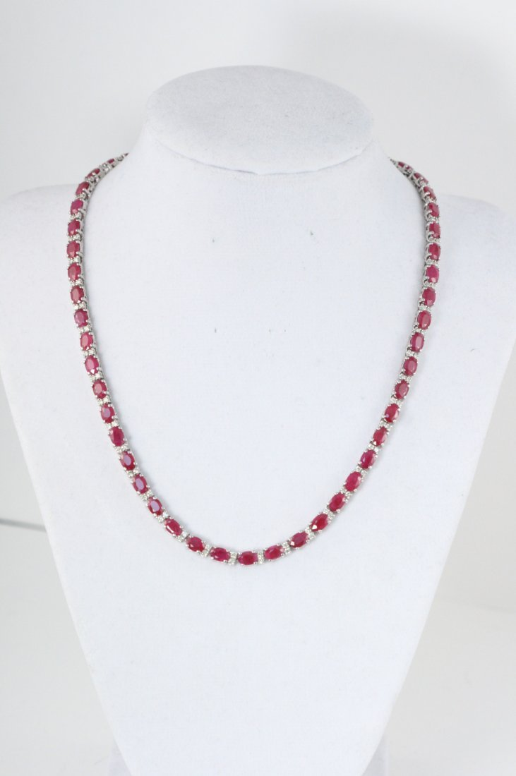 STYLISH 14K W/G NECKLACE WITH DIAMONDS AND RUBIES