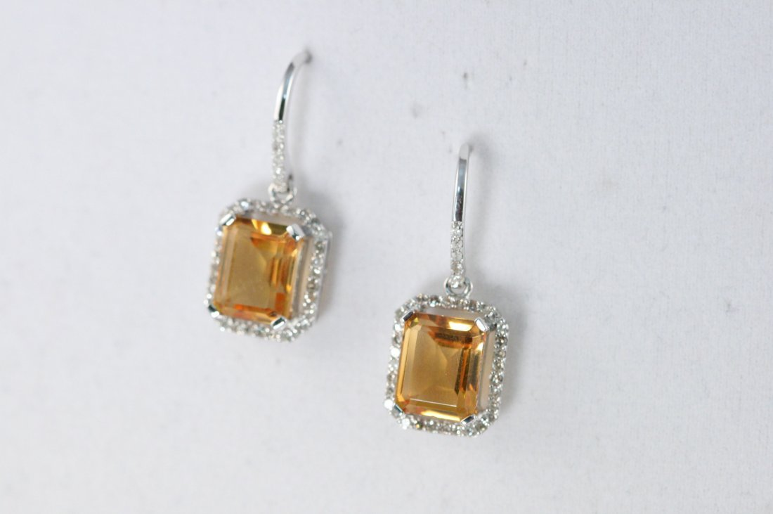 14K W/G CITRINE AND DIAMOND EARRINGS