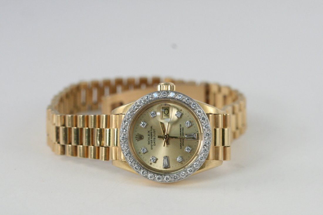 LADIES Y/G ROLEX OYSTER PERPETUAL WATCH WITH AFTER