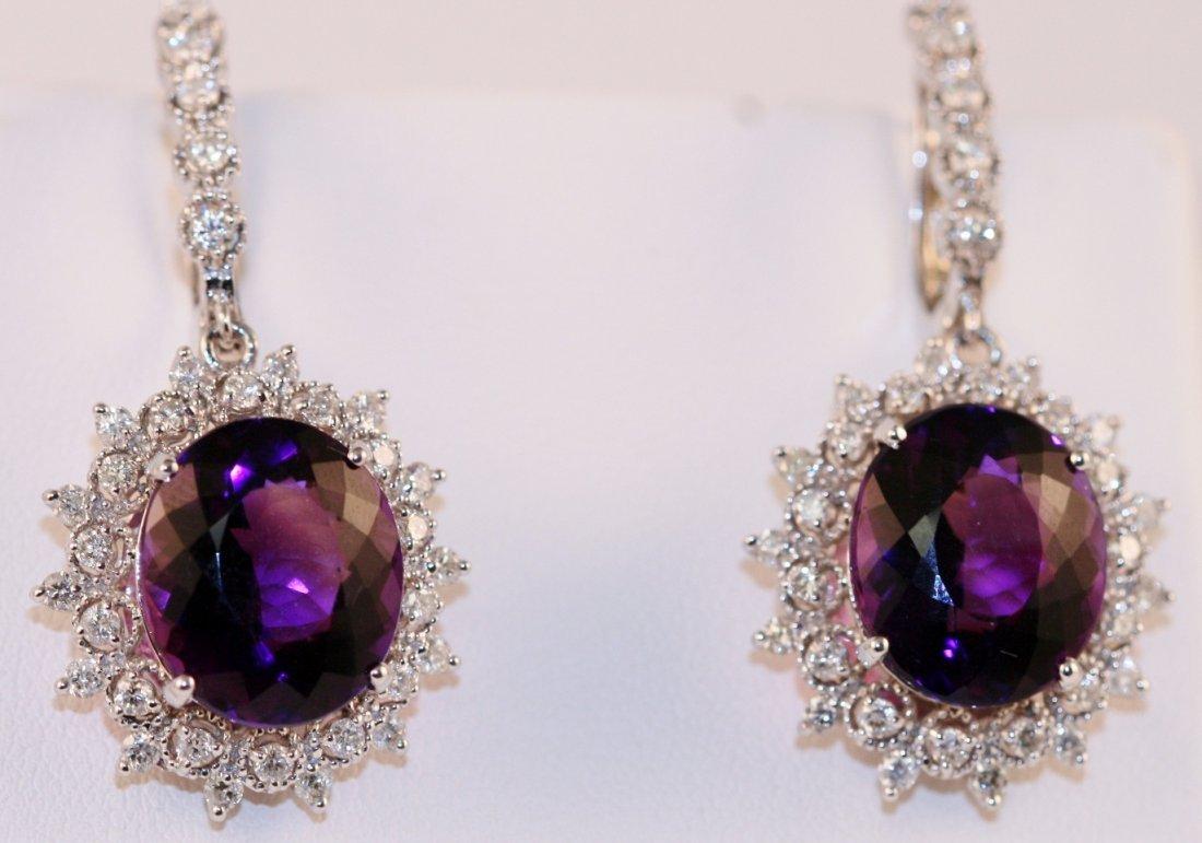 14K W/G DIAMOND AND AMETHYST EARRINGS