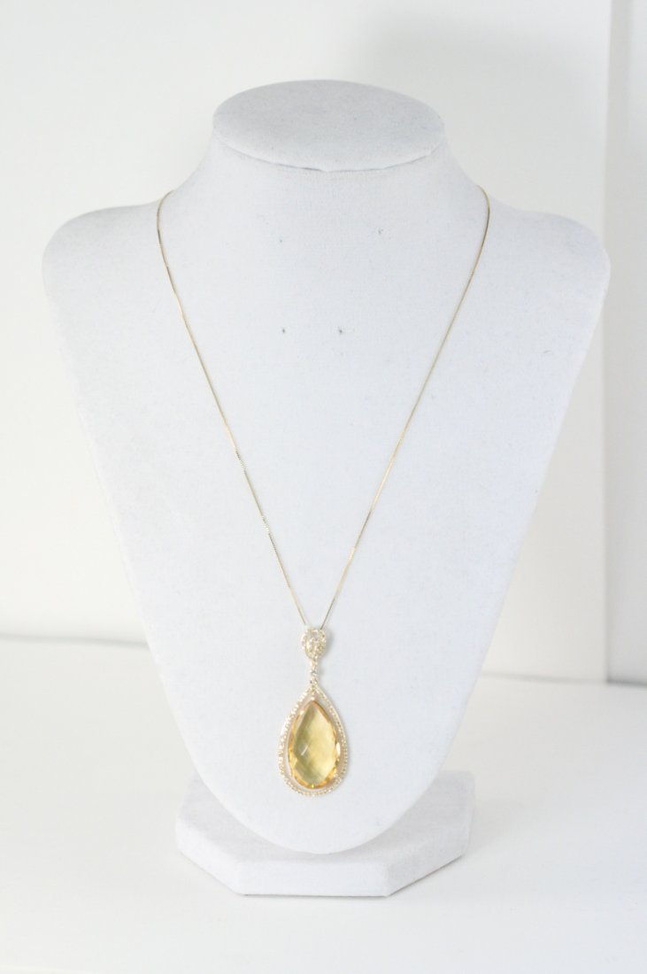 14K Y/G NECKLACE WITH  GORGEOUS CITRINE AND DIAMOND
