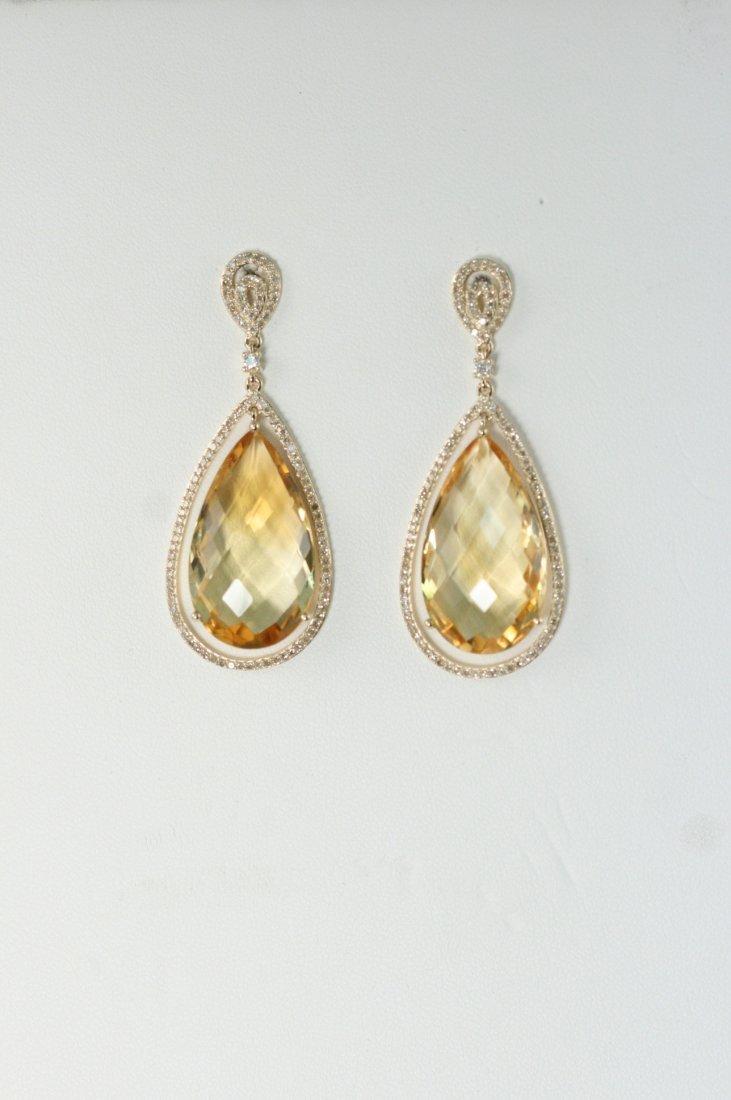GROGEOUS CITRINE AND DIAMOND 14K Y/G EARRINGS