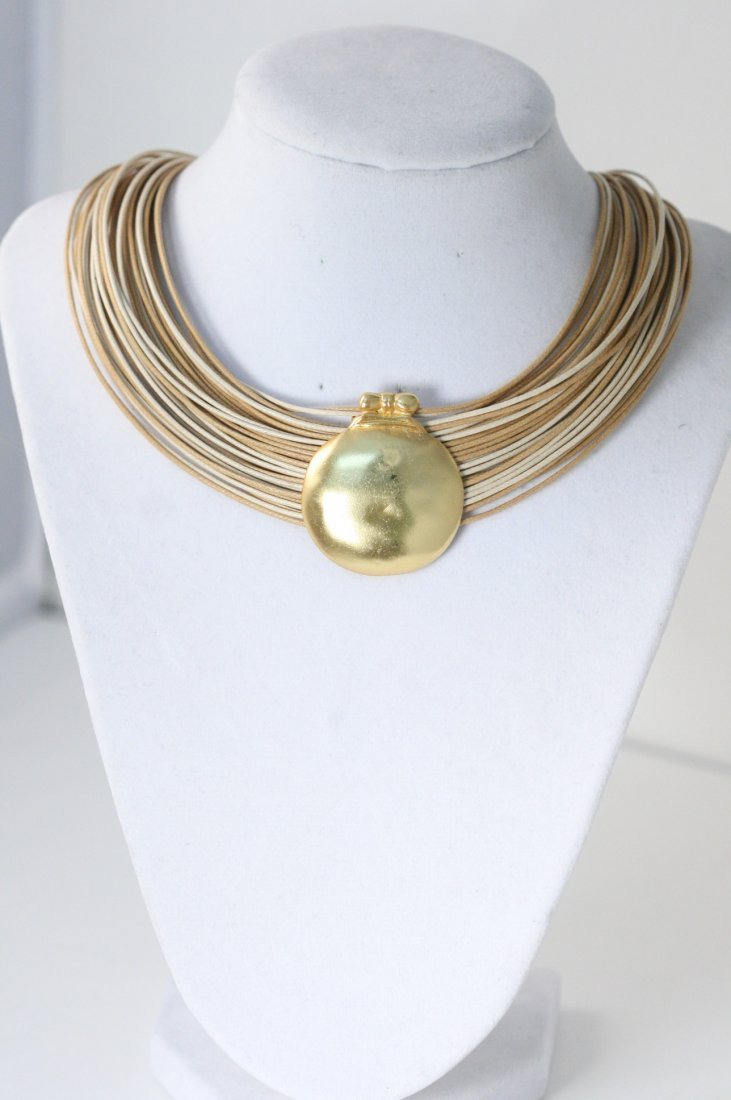 18K GOLD OVERLAY PEWTER PENDANT NECKLACE