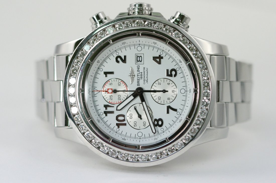 BREITLING SUPER AVENGER STEEL WATCH WITH DIAMOND BEZEL