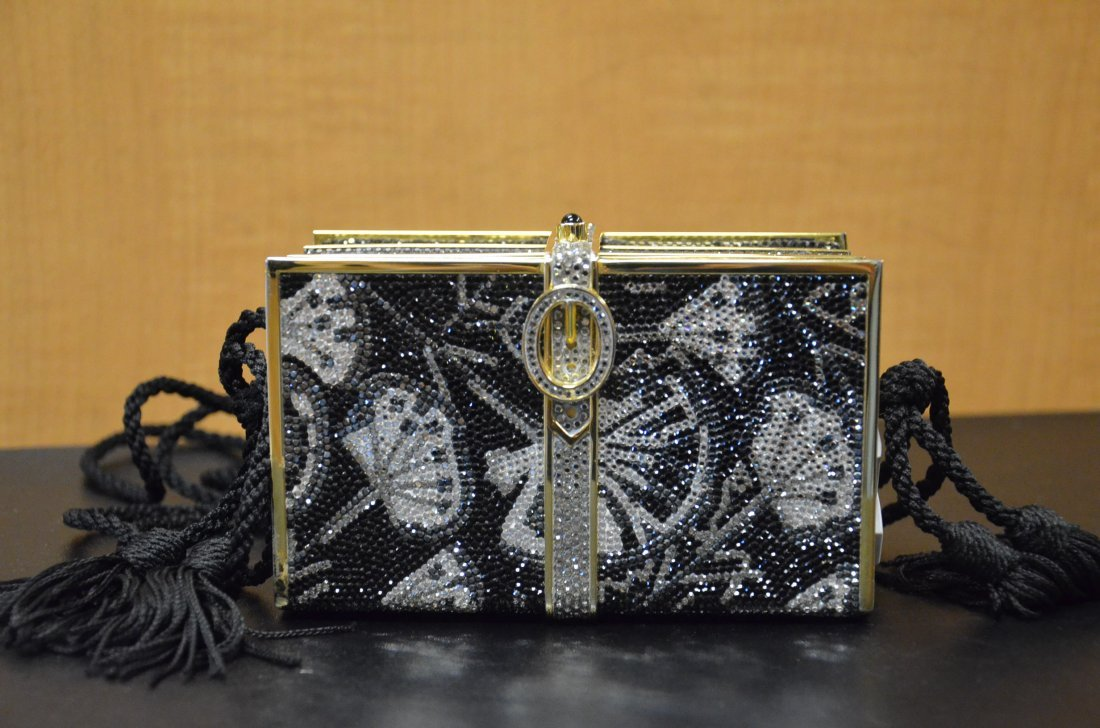 JUDITH LEIBER MINAUDIERE BOOK SHAPED WITH CORD STRAP