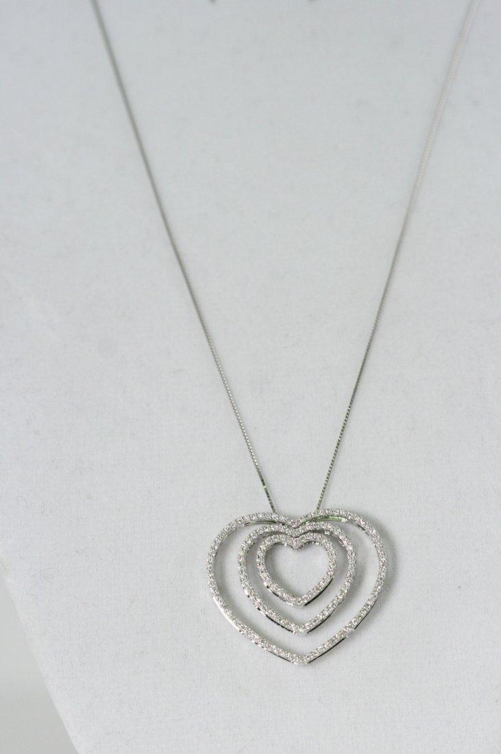 TRIPLE HEART 14K W/G DIAMOND NECKLACE