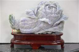 JADEITE CABBAGE CARVING ON BEAUTIFUL ROSE WOOD STAND