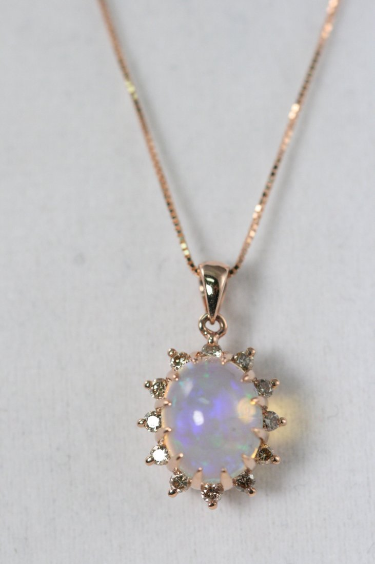 14K R/G OPAL AND DIAMOND NECKLACE