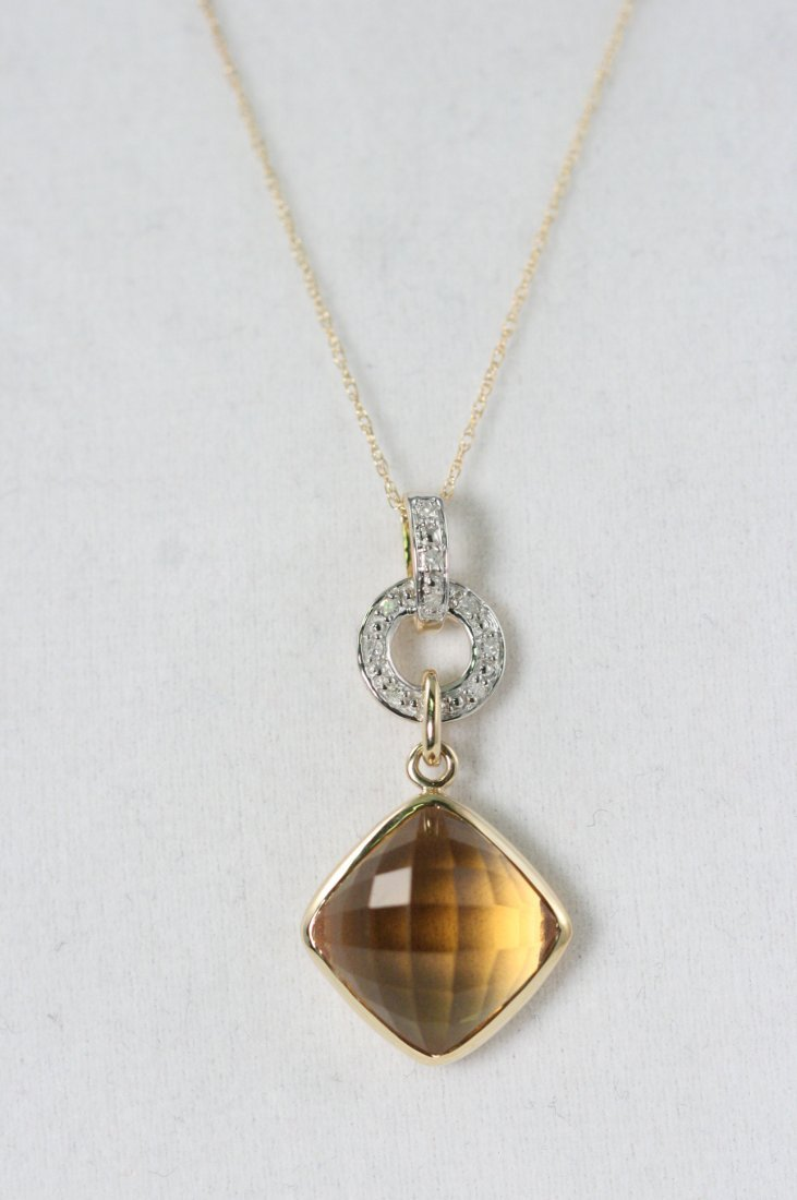 14K Y/G CITRINE AND DIAMOND NECKLACE