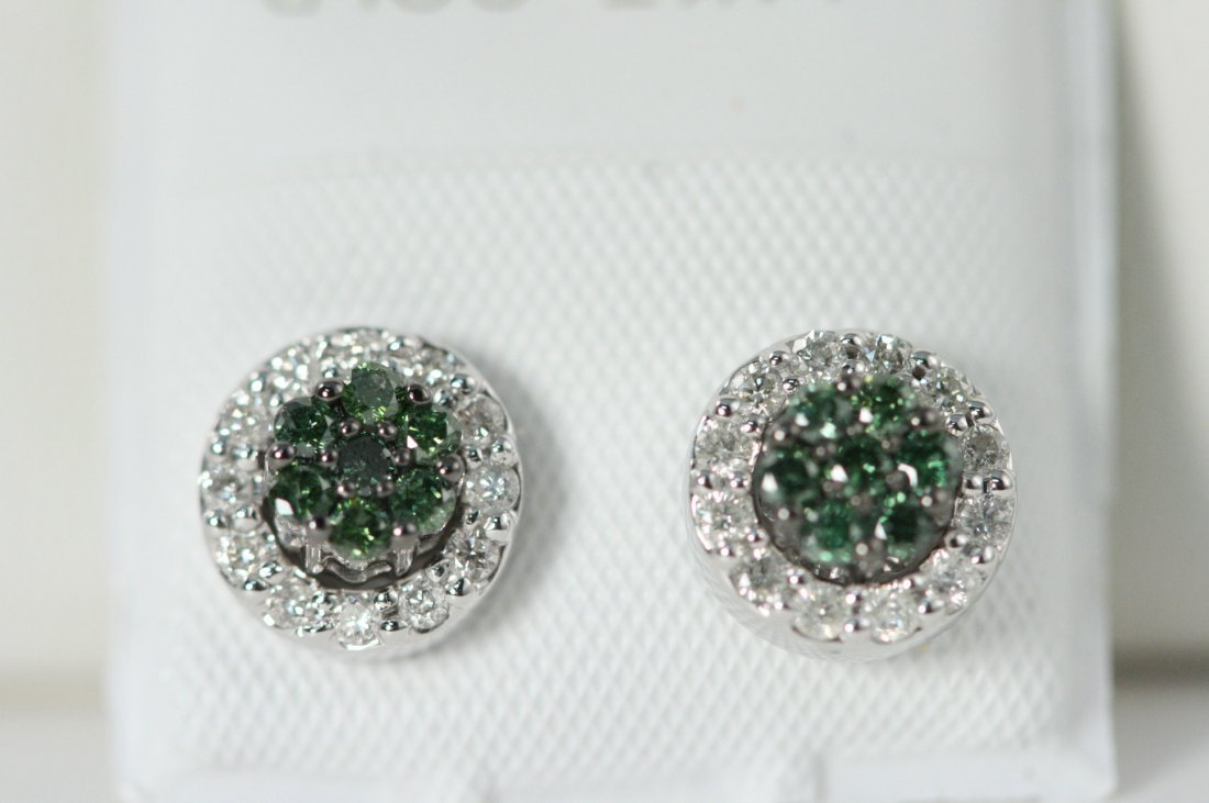 14K W/G GREEN AND WHITE DIAMOND EARRINGS