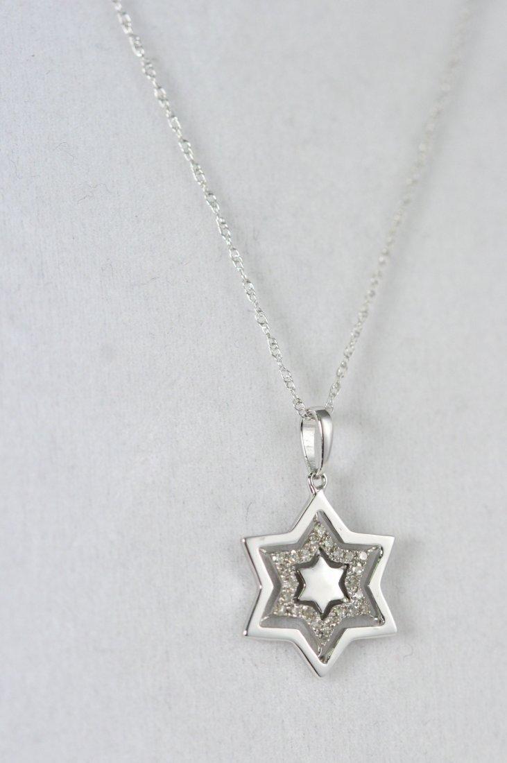 14K W/G DIAMOND STAR OF DAVID NECKLACE