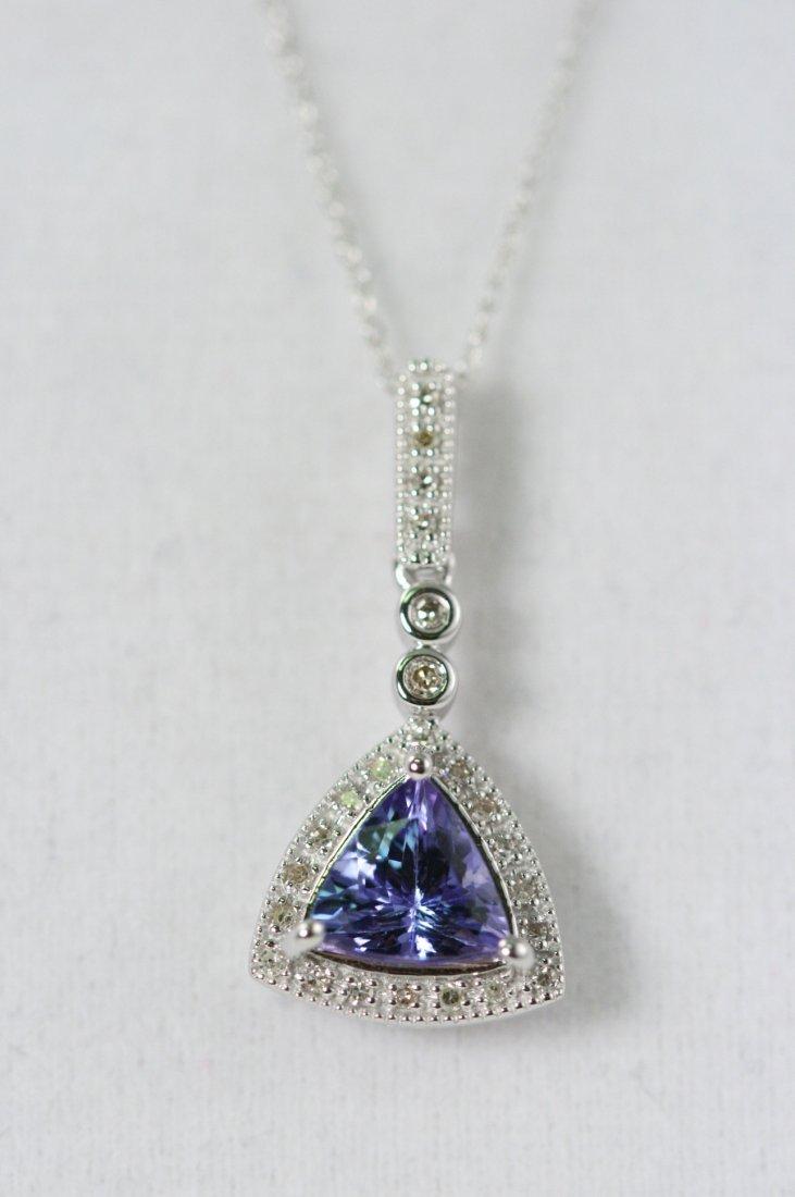 14K W/G TANZANITE AND DIAMOND NECKLACE