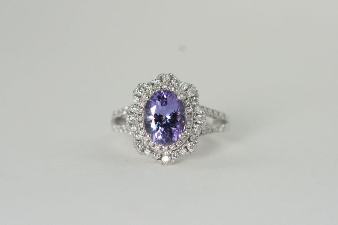 GORGEOUS TANZANITE AND DIAMOND 14K W/G RING
