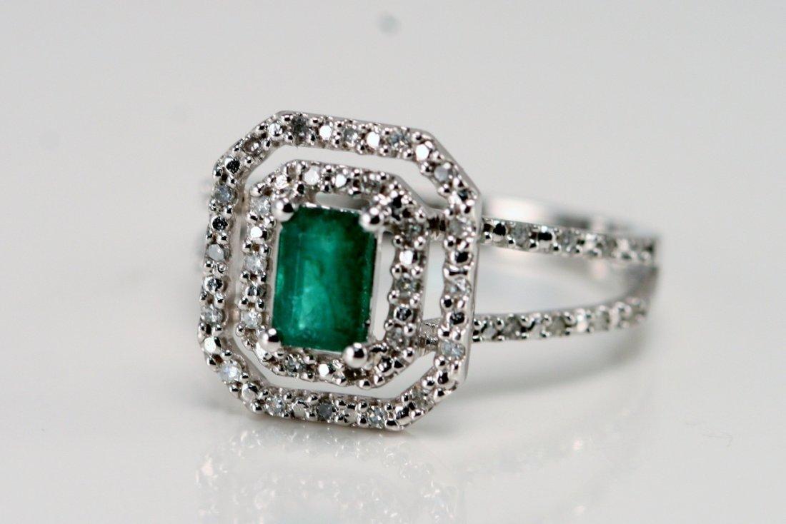 14K W/G DIAMOND & EMERALD RING