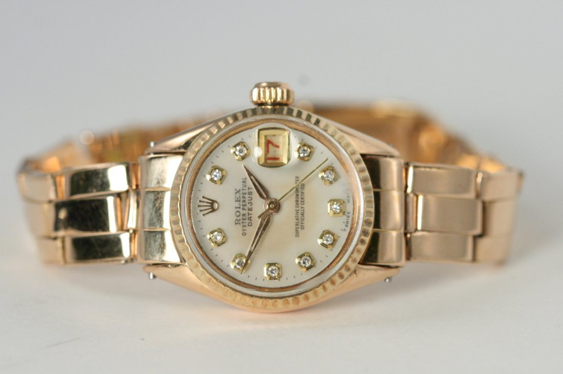 ALL GOLD LADIES ROLEX - DATE WITH CUSTOM AFTERMARKET