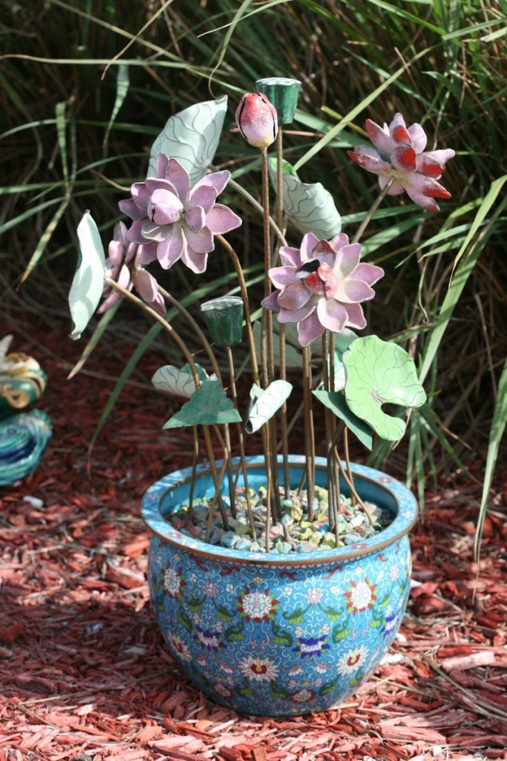 ANTIQUE CLOISOME FLOWER POT WITH LOTUS FLOWERS
