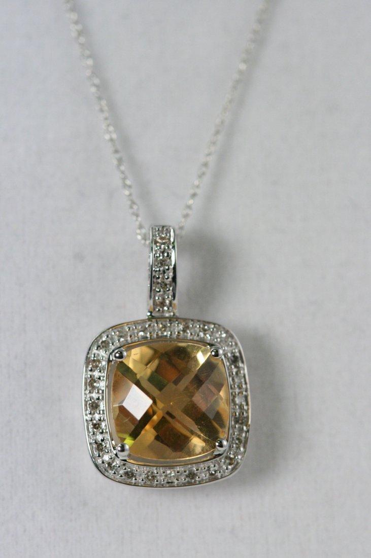 14K W/G CITRINE AND DIAMOND NECKLACE