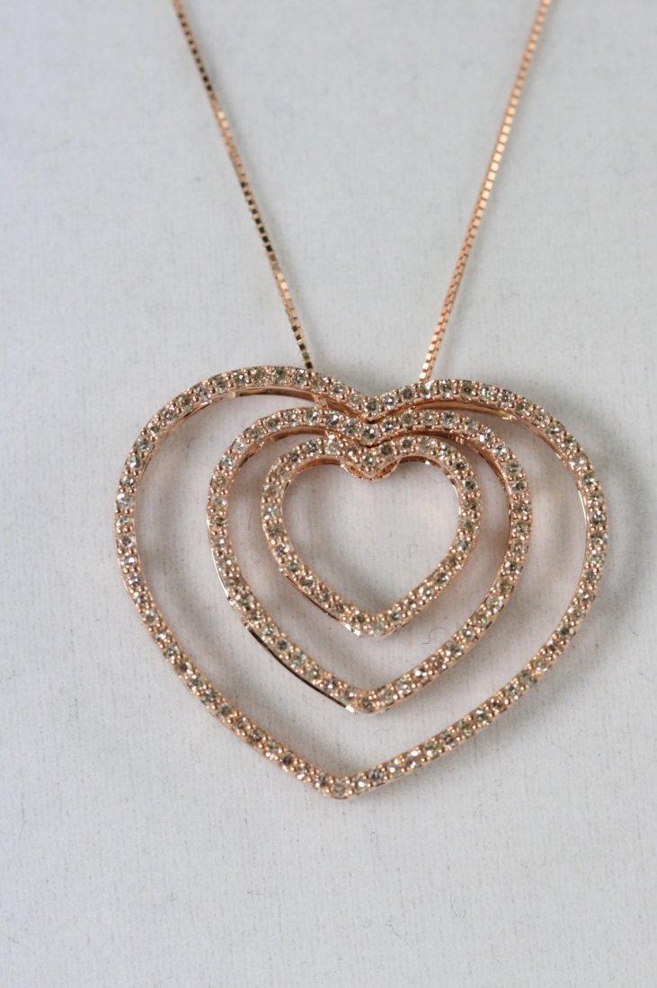 14K R/G DIAMOND HEART NECKLACE