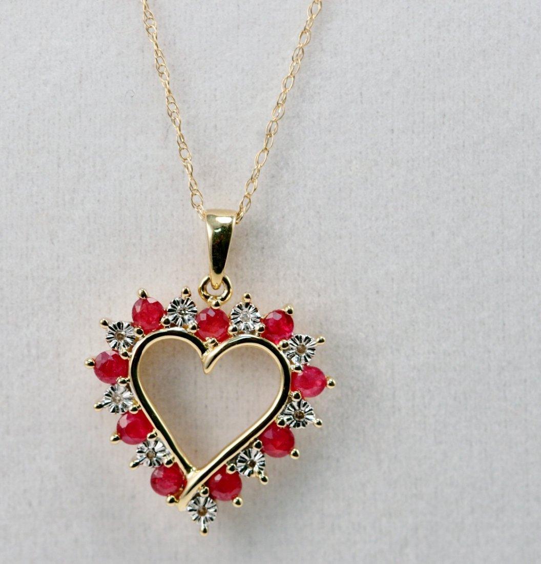 14K Y/G HEART SHAPE DIAMOND & RUBY NECKLACE