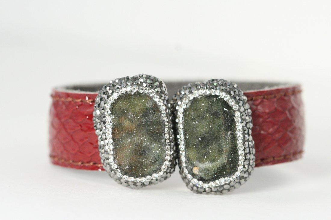 RED LEATHER CUFF WITH GEM STONE AND SWAROVSKI CRYSTALS