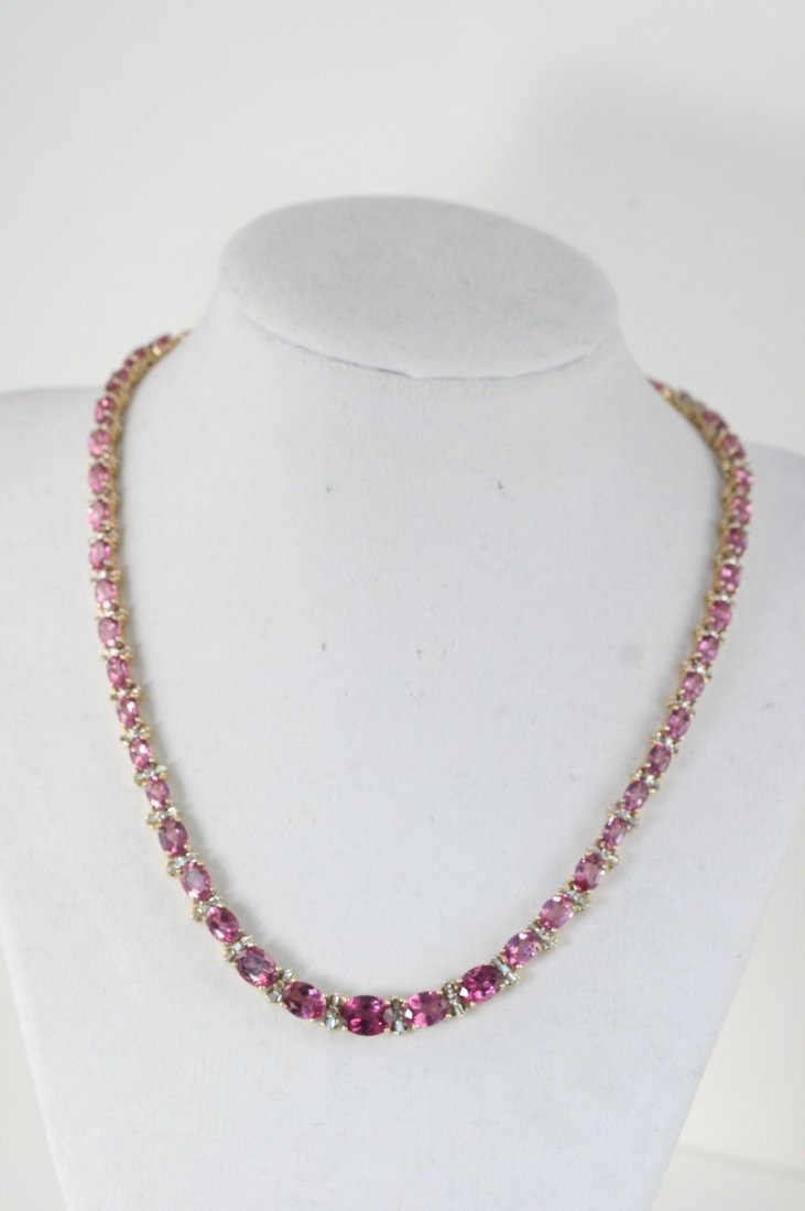 GORGEOUS 14K Y/G NECKLACE WITH DIAMONDS AND AMETHYSTS