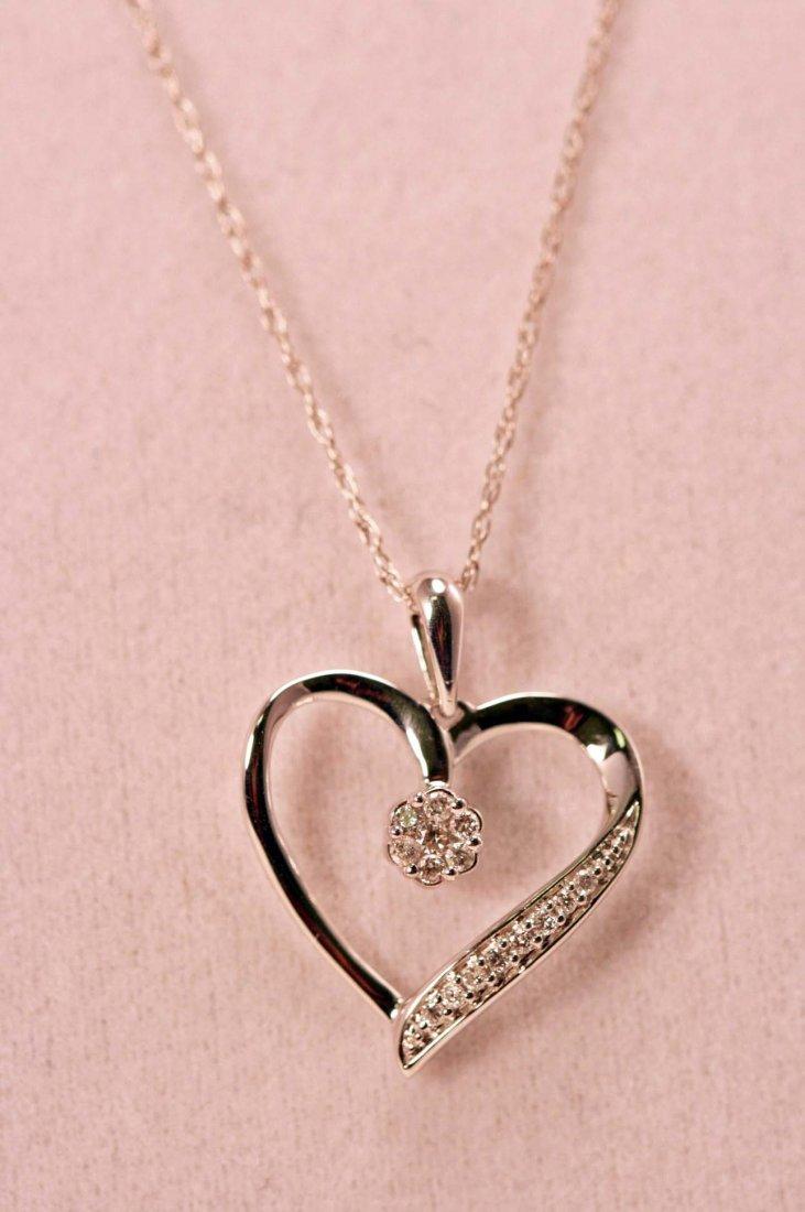 14K W/G HEART NECKLACE WITH DIAMONDS